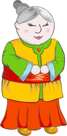 wise woman: Fat Chinese Grandmother Cartoon Illustration