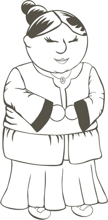 coloring sheets: Chinese Grandmother Coloring Sheet for Children
