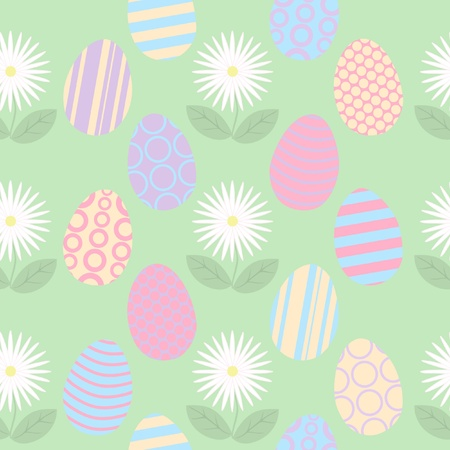Seamless Easter Background with Eggs and Flowers Vector
