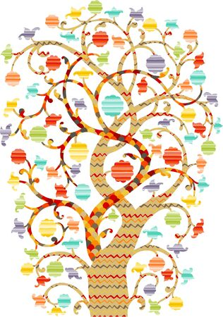 Ornate Tree drawing with colorful pattern fill and flower blossoms Vector