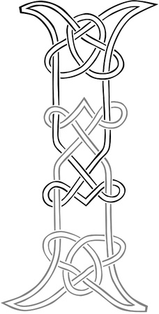 A Celtic Knot-work Capital Letter I Stylized Outline