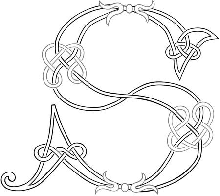 Esquema estilizada Un nudo celta trabajo en letra mayúscula S Ilustración de vector