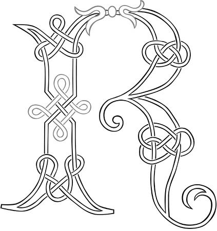 Un nudo celta trabajo-capital Letra R esquema estilizado