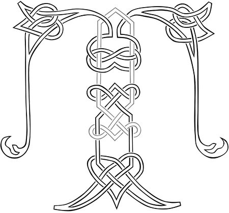 A Celtic Knot-work Capital Letter T Stylized Outline Vector