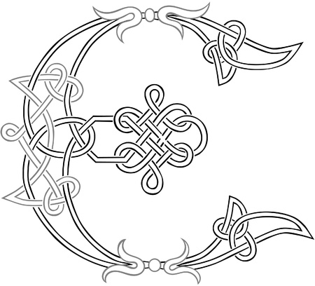 A Celtic Knot-work Capital Letter E Stylized Outline