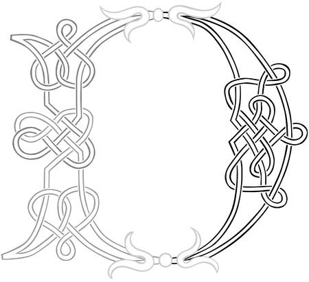 knotwork: A Celtic Knot-work Capital Letter D Stylized Outline Illustration