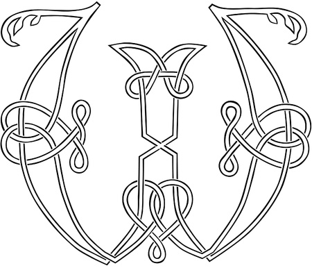 A Celtic Knot-work Capital Letter W Stylized Outline Vector