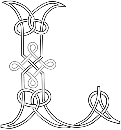 A Celtic Knot-work Capital Letter L Stylized Outline Illustration