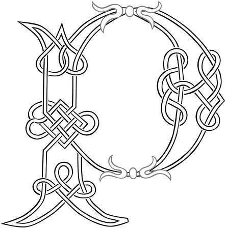 capitel: Un nudo celta trabajo en letra mayúscula P estilizada Esquema
