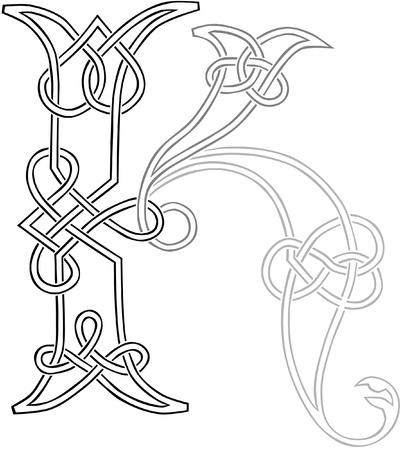 A Celtic Knot-work Capital Letter K Stylized Outline