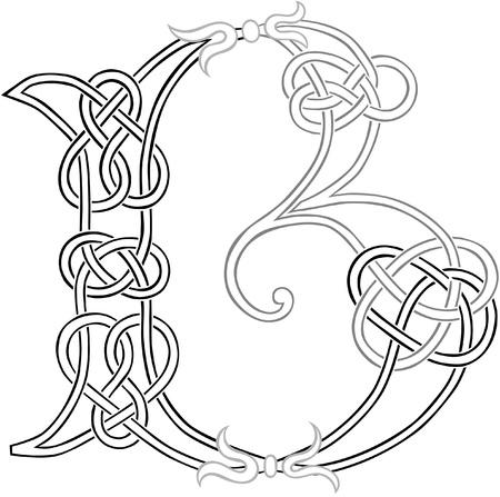結び目: ケルト族の結び目仕事大文字 B 様式化されたアウトライン  イラスト・ベクター素材