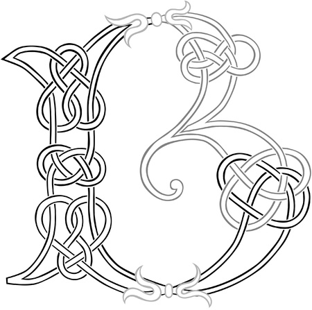 A Celtic Knot-work Capital Letter B Stylized Outline Illustration