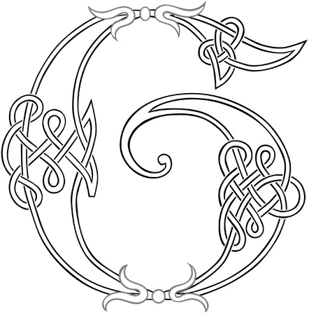 A Celtic Knot-work Capital Letter G Stylized Outline Vector