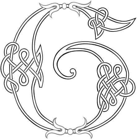 capitel: Un nudo celta trabajo en letra mayúscula G estilizada Esquema