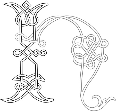 A Celtic Knot-work Capital Letter H Stylized Outline