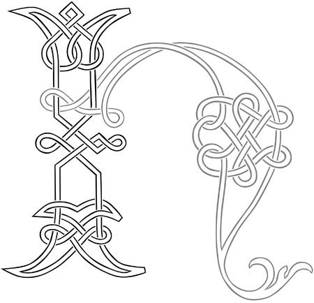 celtico: A Knot-lavoro celtica Capital Outline Lettera H stilizzata Vettoriali