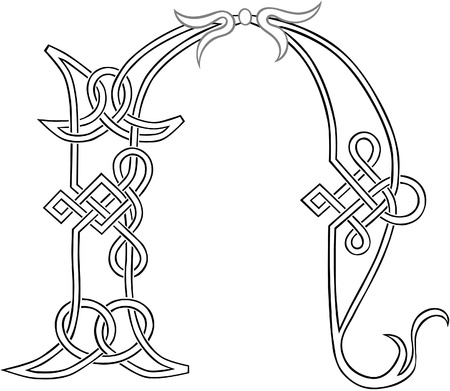 A Celtic Knot-work Capital Letter N Stylized Outline