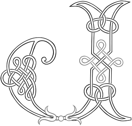 A Celtic Knot-work Capital Letter J Stylized Outline