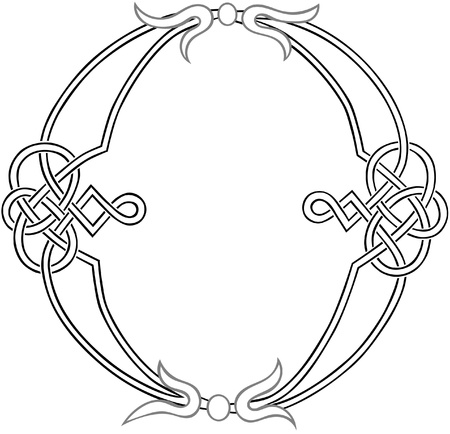 A Celtic Knot-work Capital Letter O Stylized Outline Illustration