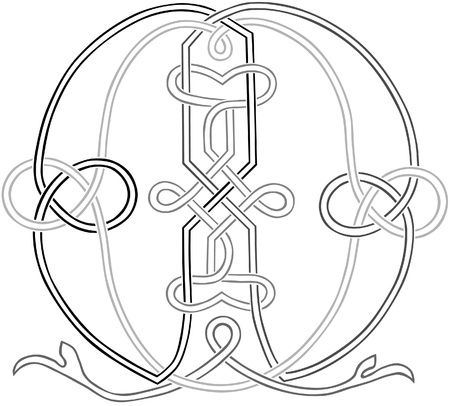 A Celtic Knot-work Capital Letter M Stylized Outline Illustration