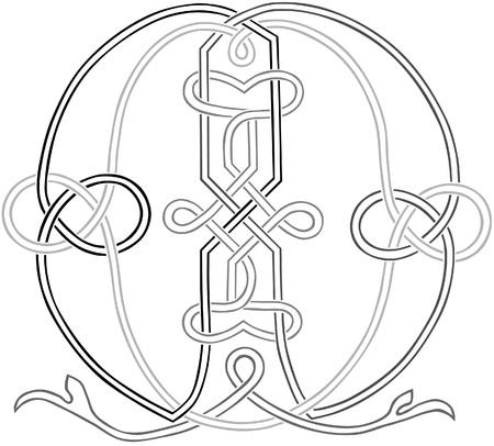 celtic design: A Celtic Knot-work Capital Letter M Stylized Outline Illustration