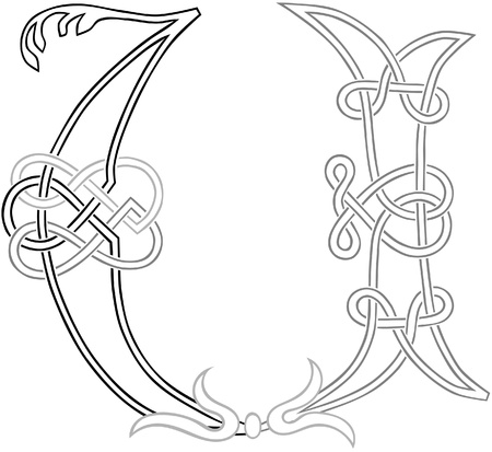 initial cap: A Celtic Knot-work Capital Letter U Stylized Outline Illustration