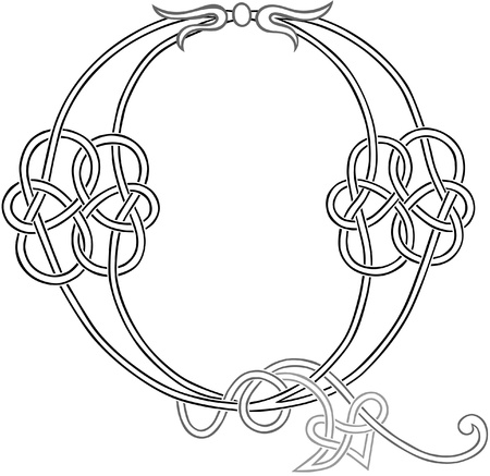 A Celtic Knot-work Capital Letter Q Stylized Outline