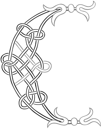 A Celtic Knot-work Capital Letter C Stylized Outline Illustration