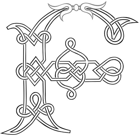 A Celtic Knot-work Capital Letter F Stylized Outline Illustration