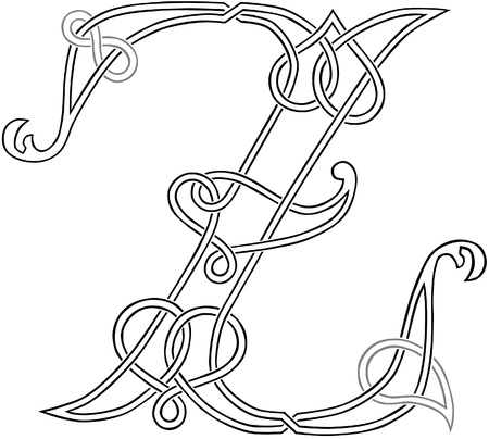 spelling: A Celtic Knot-work Capital Letter Z Stylized Outline