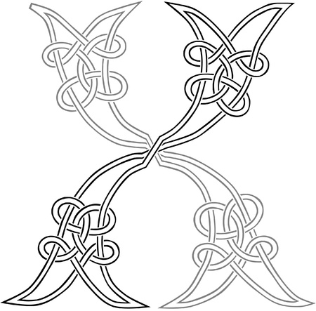 A Celtic Knot-work Capital Letter X Stylized Outline Illustration