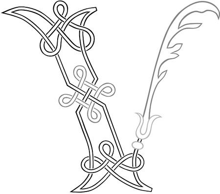 celt: A Celtic Knot-work Capital Letter V Stylized Outline Illustration