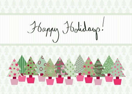 Handwritten Happy Holidays Card in modern color scheme with hand-drawn Christmas tree design Illustration