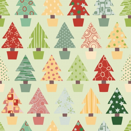 Seamless Christmas Tree Background in Festive Color scheme Vector