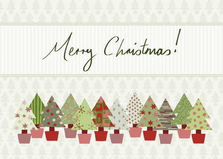 Handwritten Merry Christmas Card in traditional color scheme with hand-drawn Christmas tree design