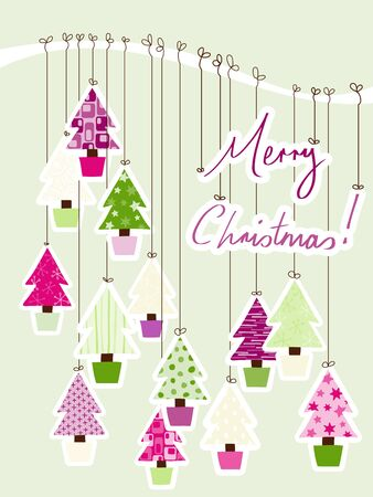 A Handwritten Merry Christmas Sign tied to a branch with decorative Christmas Trees. Stock Vector - 14524261