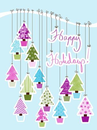 A Handwritten Happy Holidays Sign tied to a branch with decorative Christmas Trees. Stock Vector - 14530387