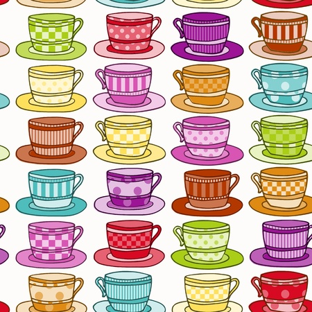Rainbow Colored Vintage style Teacup Seamless Background Vector