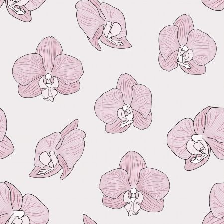 Seamless Orchid flower background tile in pink color scheme Vector
