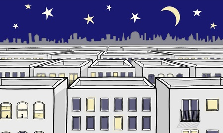 Single Point Perspective Cartoon Night time Cityscape Vector