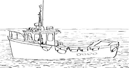 fishing boat: 낚시 보트의 손 스케치 드로잉.
