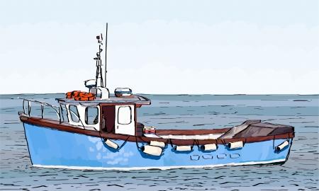 barca da pesca: Mano sketch disegno di una barca da pesca con riempimento di colore superficiale.