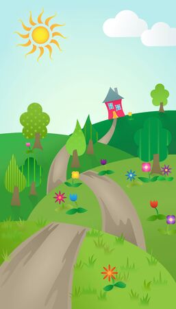 The Journey Home Illustration. Path leading over hills to your new home. Vector