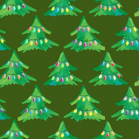 adorned: Seamless Fairy Light Adorned Christmas Tree Background Illustration