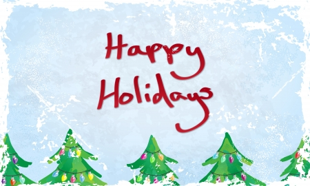 happy holidays card: Grungy Happy Holidays card with Fairy Light decorated Christmas Trees. Please note, Vector is EPS10