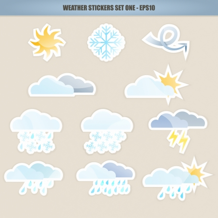 Weather Icon Stickers – Set one Stock Vector - 16702607