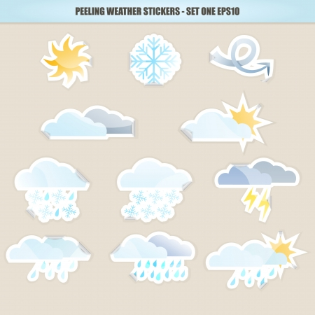 Peeling Weather Stickers - Set One Stock Vector - 16809860