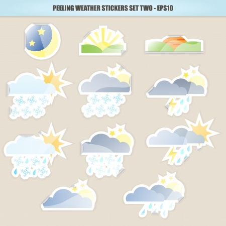 Peeling Weather Stickers - Set Two Stock Vector - 16809861
