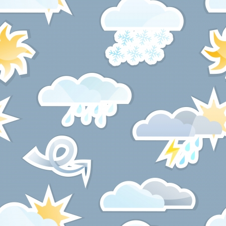 Seamless Weather Sticker Icon Background Tile.  Vector