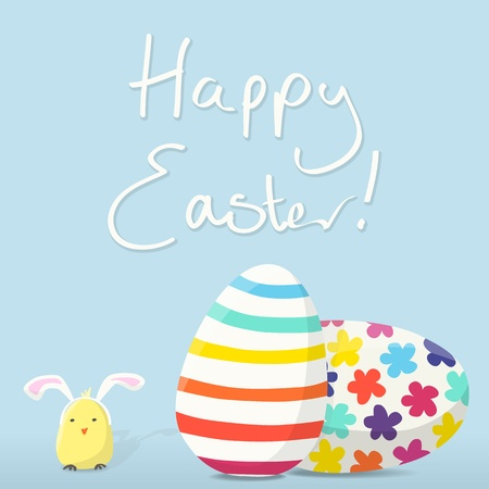 Square Happy Easter Card with Decorated Eggs and a Chick wearing Bunny Ears Stock Vector - 17696296